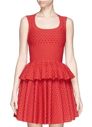 Azzedine Alaia 'Toffee' Polka Dot Jacquard Peplum Top Red