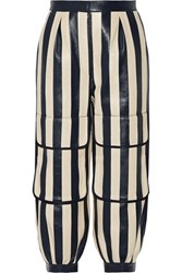 Fendi Cropped Striped Leather Tapered Pants Storm Blue