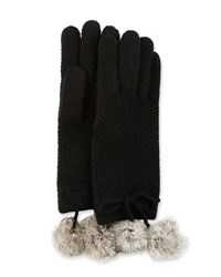 Neiman Marcus Cashmere Rabbit Fur Pompom Gloves Black