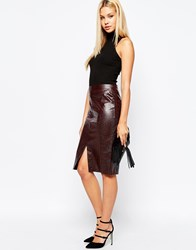 Lipsy Faux Snakeskin Pencil Skirt Red