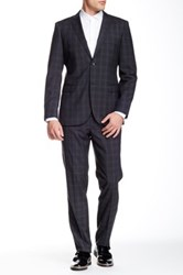 Zanetti Charcoal Plaid Two Button Notch Lapel Slim Fit Wool Suit Gray