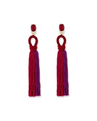 Oscar De La Renta Long Gradient Looped Tassel Earrings Pink