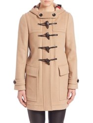 Burberry Hooded Wool Duffle Coat New Camel