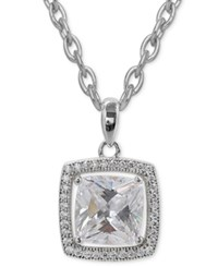 Giani Bernini Cubic Zirconia And Pave Square Pendant Necklace In Sterling Silver Only At Macy's
