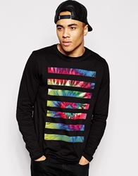 Asos Skater Long Sleeve T Shirt With Tie Dye Stripes Black