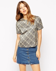 Le Mont St Michel Top In Grid Print Greigeground