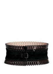 Azzedine Alaia Vienne' Lasercut Patent Leather Wide Corset Belt
