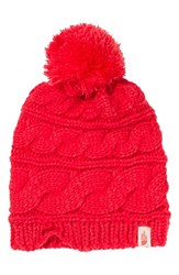 The North Face Women's 'Triple Cable Pom' Beanie Red Melon Red