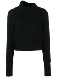 Alaia Ribbed Roll Neck Jumper Black
