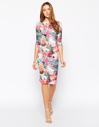 Club L Body Conscious Midi Dress In Tropical Print Multi