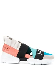 Emilio Pucci City Up Colourblock Ruffled Sneakers Neutrals