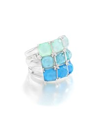 Ippolita Rock Candy Three Row Wide Colorblock Ring In Blue Star Size 7 Silver