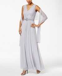 Jessica Howard Embellished A Line Gown And Scarf Smoke