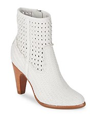 Frye Celeste Woven Leather Booties White
