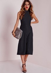 Missguided High Neck Pinstripe Culotte Jumpsuit Navy