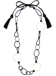 Night Market Bead And Ring Long Necklace Plastic Polyester Brass Black