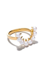 Tasaki 18Kt Yellow Gold Danger Collection Line Akoya Pearl Ring 60