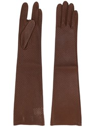 Acne Studios Perforated Leather Gloves Brown