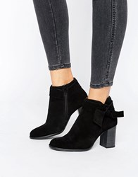 Vero Moda Suede Bow Heel Boot Black