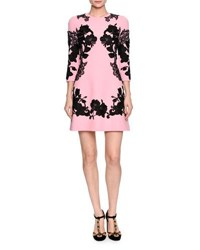 Dolce And Gabbana 3 4 Sleeve Mirrored Lace Dress Pink Black Pink Black