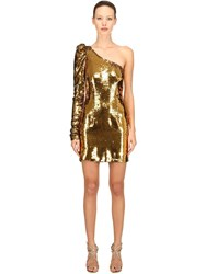 Amen Sequined Asymmetrical Mini Dress Gold