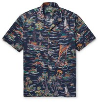 Gitman Brothers Vintage Camp Collar Printed Cotton Poplin Shirt Storm Blue