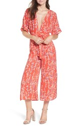Moon River Floral Open Back Jumpsuit Red Multi