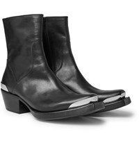 Vetements Metal Tipped Leather Boots Black