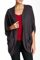 Sweet Romeo Open Front Ribbed Dolman Cardigan Gray