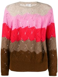 Closed Striped Eyelet Sweater Pink