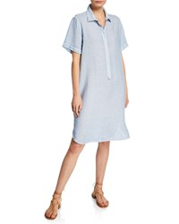 120 Lino Short Sleeve Linen Pocket Shirtdress Sky Blue Fade