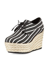 Alice Olivia Rosie Striped Canvas Espadrille Black White