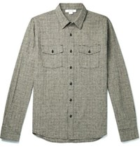 Frame Checked Cotton And Linen Blend Overshirt Black