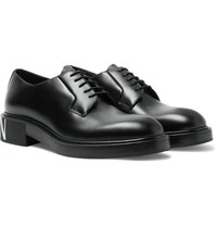Valentino Garavani Logo Print Leather Derby Shoes Black