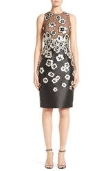 Carmen Marc Valvo Women's Floral Applique Sheath Dress