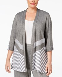 Alfred Dunner Plus Size Acadia Collection Roll Tab Cardigan Oxford