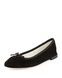 Repetto Suede Bow Ballerina Flat Black