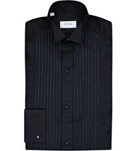 Eton Metallic Detail Slim Fit Cotton Blend Shirt Black