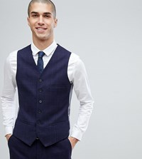 Heart And Dagger Slim Stretch Waistcoat In Tweed Check Navy