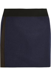Victoria Beckham Wool Felt Wrap Mini Skirt Blue