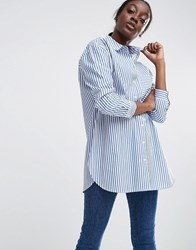 Asos Oversized Smart Cotton Shirt In Stripe With Curved Hem Multi