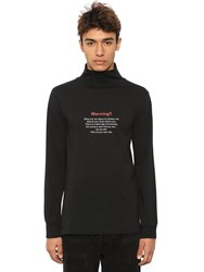 Vetements Warning Printed Jersey Turtleneck Black