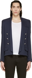 Balmain Navy French Terry Quilted Blazer