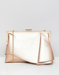 Coast Rae Ruffle Clutch Bag Rose Gold Pink