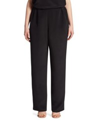 Caroline Rose Straight Leg Silk Crepe Pants Black
