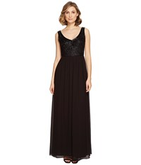 Adrianna Papell Sleevless Beaded V Neck Long Gown Black Women's Dress
