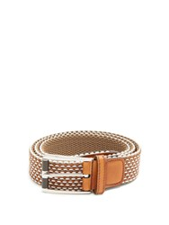 Berluti Scenario Leather Trimmed Braided Belt Beige