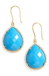 Susan Hanover Women's Small Semiprecious Stone Teardrop Earrings Turquoise Gold
