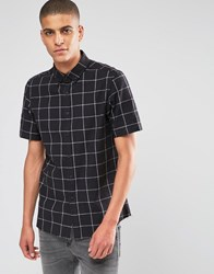 Asos Shirt With Monochorme Grid Check In Half Sleeve Black