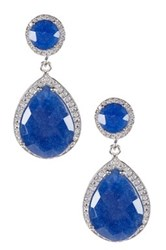 Blue Sapphire And White Topaz Teardrop Earrings